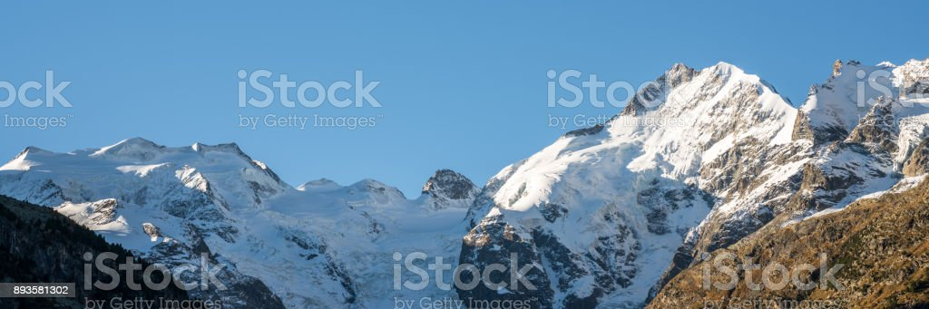 Bernina mountain range in the Swiss Alps stock photo