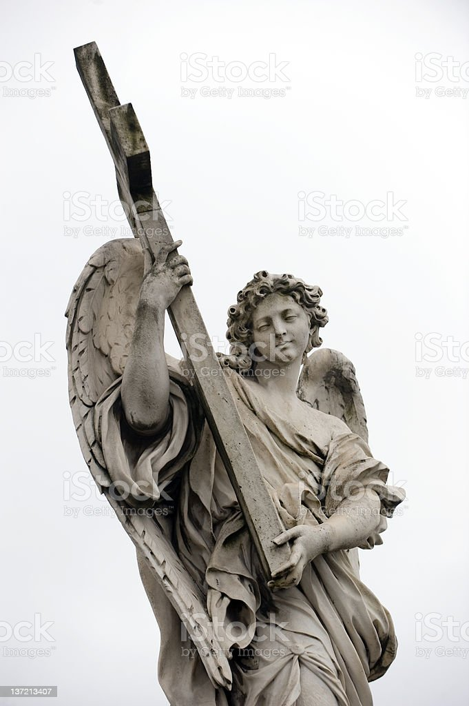 Anjo Bernini em Saint ANgelo bridge, Roma - foto de acervo