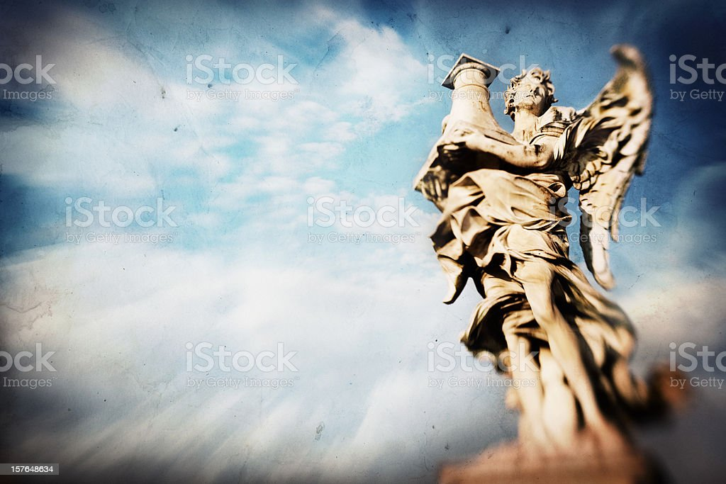 Bernini Roman Marble Angel Statue against Sky stock photo