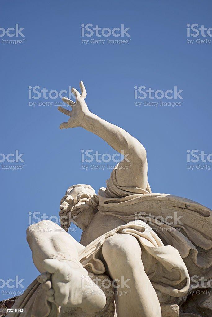 Bernini's Four River Fountain, close-up royalty-free stock photo