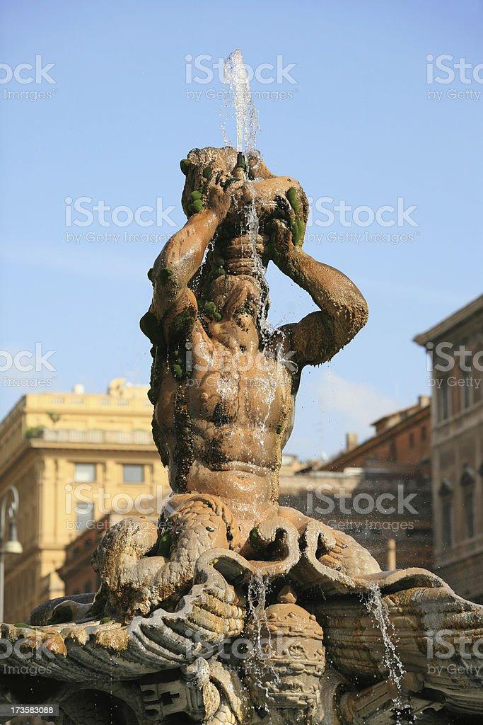 Bernini's Triton Fountain in Piazza Barberini royalty-free stock photo