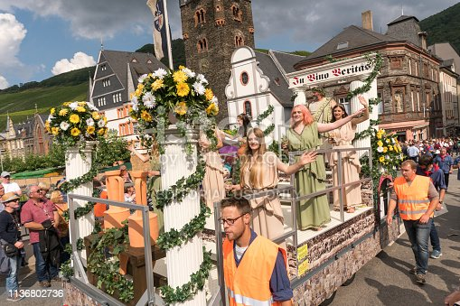 Bernkastel-Kues, Germany - September 03, 2017: One of the most exciting wine festival parades of the world