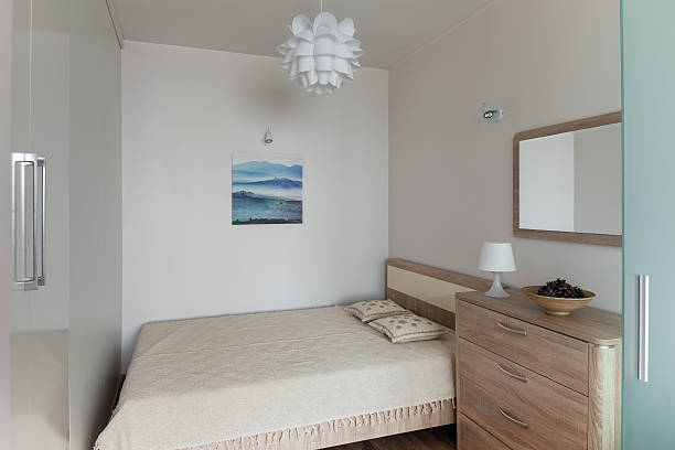 Beroom interior in small modern apartment in scandinavian style stock photo