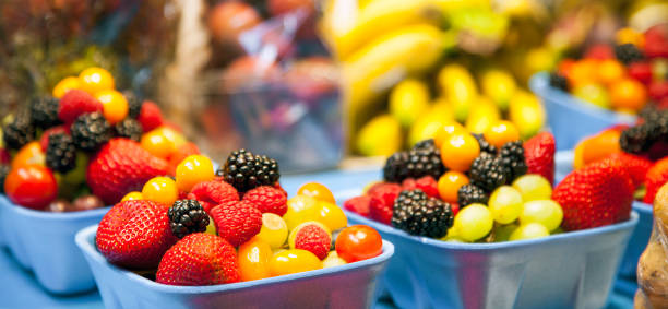 Berries and Fruits in a Public Market in Vancouver Canada stock photo