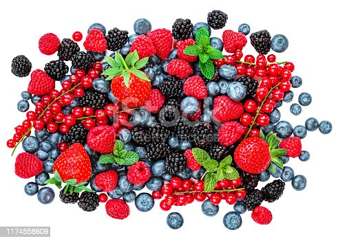 942159066 istock photo Berries. Assorted mix of  fresh summer berry fruits isolated on white background. Top view. Antioxidants and food detox concept 1174558609
