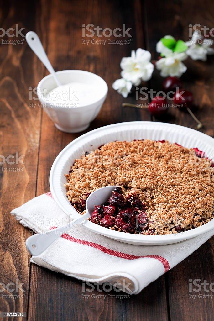 Berries crumble stock photo