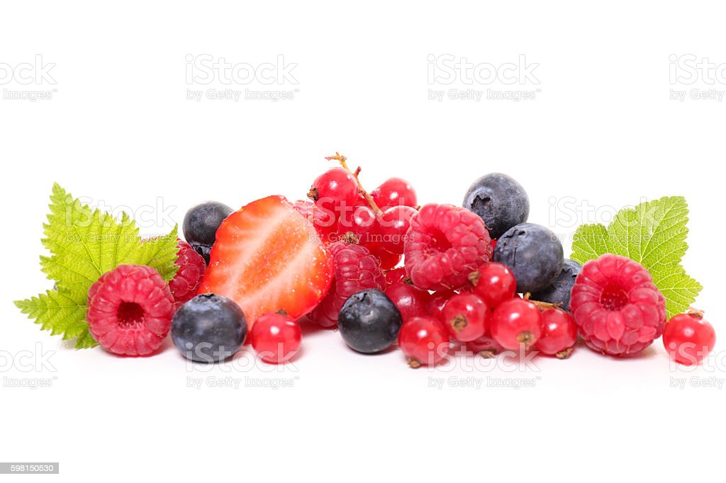 berries fruits isolated on white stock photo