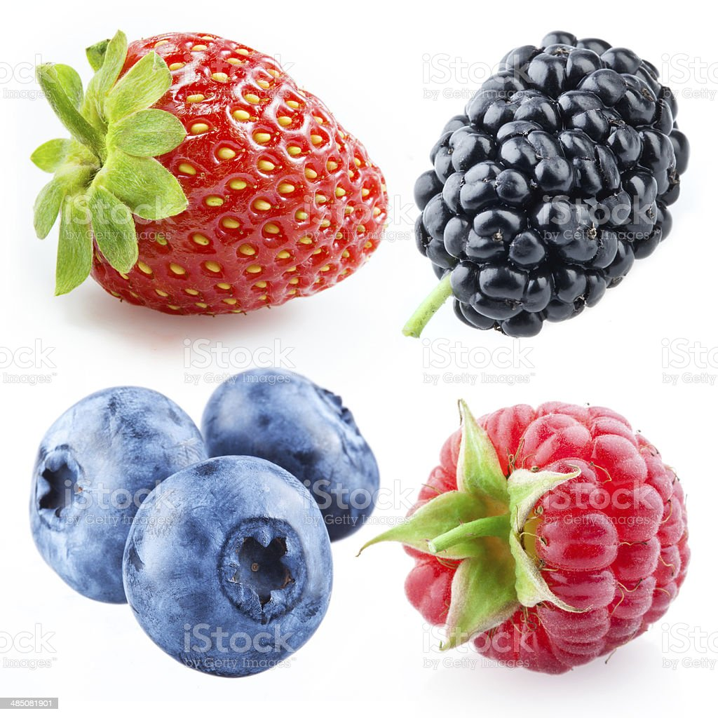 Berries - raspberry, strawberry, blueberry, mulberry. Collection isolated on white stock photo