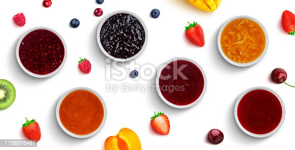 Assortment of jam, collection of different berry and fruit jams isolated on white background, top view, flat lay