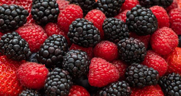 bär bakgrund. björnbär, hallon och jordgubbar närbild, makro. mat bakgrund. söta färska mogna bär blanda. bär mönster och textur. - hallon bildbanksfoton och bilder