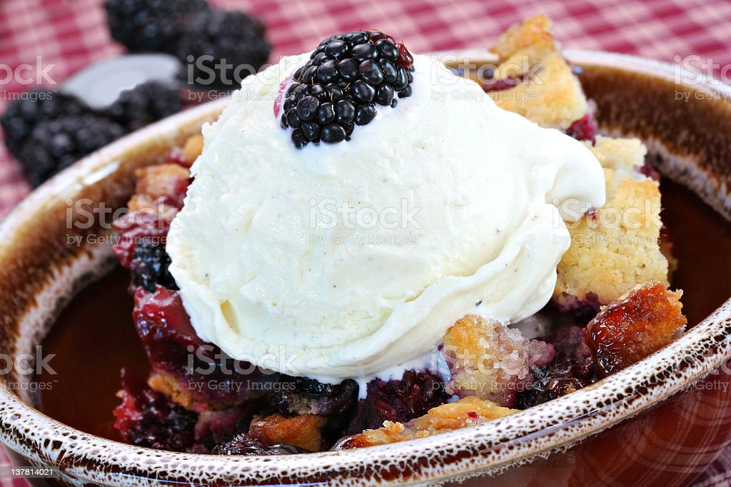 Berry Cobbler with Ice Cream royalty-free stock photo