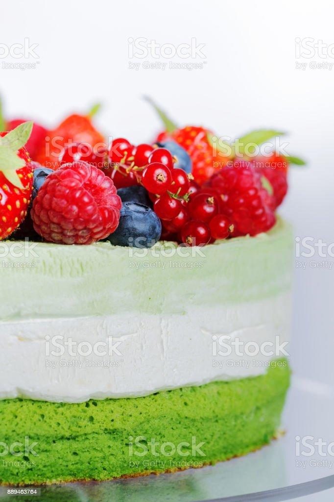 Berry cream layer cake stock photo
