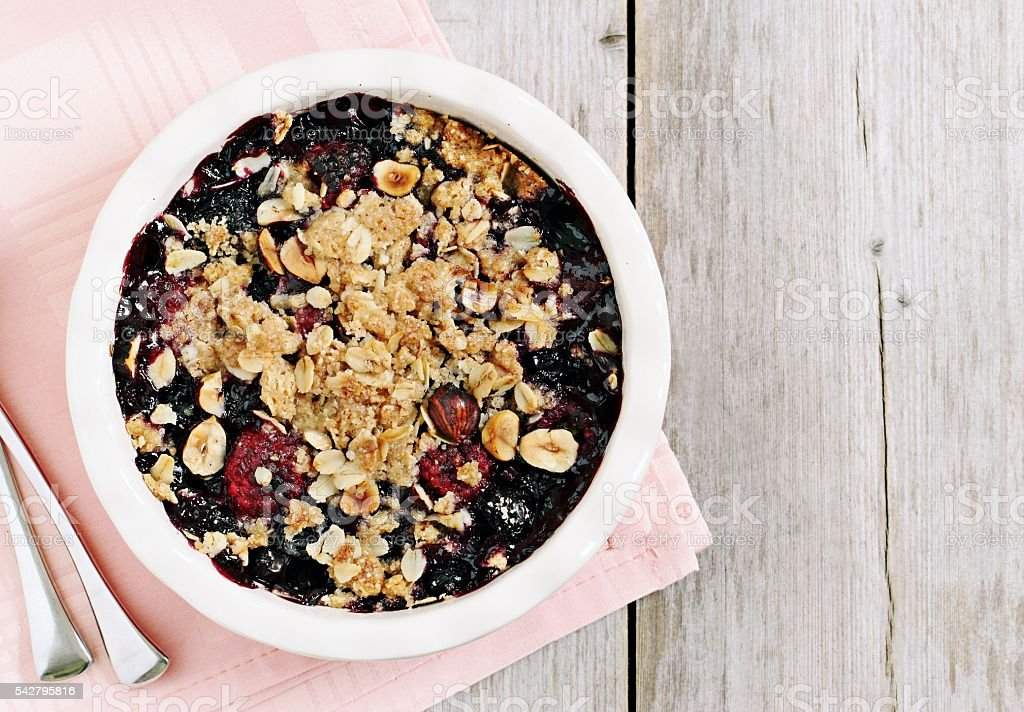 Berry crumble. Clean-eating gluten free dessert . stock photo