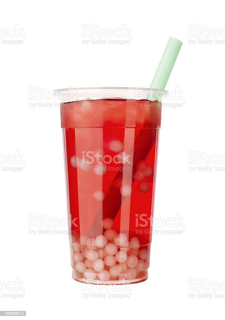 berry flavoured bubble tea stock photo