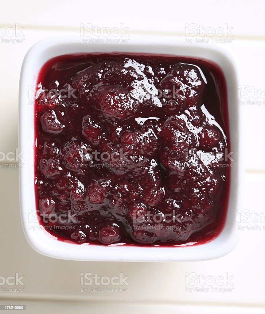 Berry fruit sauce stock photo