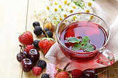berry fruit tea in a glass cup