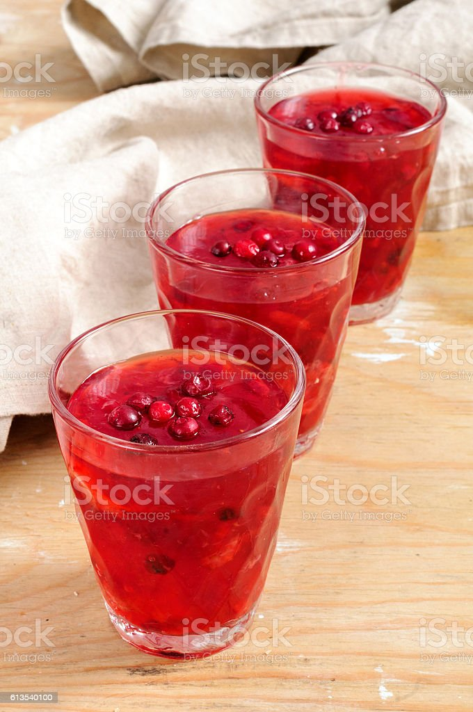 Berry jelly with cranberries and strawberries stock photo