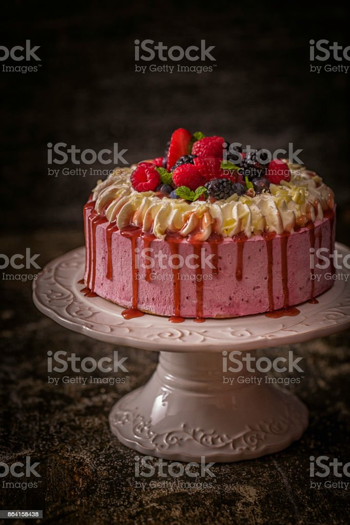Berry Layer Cake with Whipped Cream royalty-free stock photo