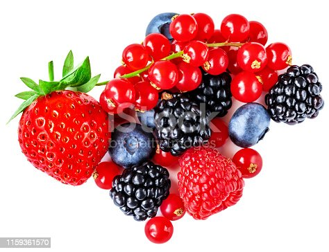 670420880istockphoto Berry mix isolated on a white background. Various fresh berries. Raspberry, Blueberry, Cranberry, Blackberry and Strawberry 1159361570