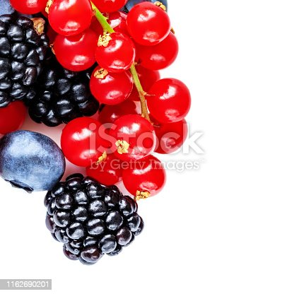 670420880istockphoto Berry mix isolated on a white background. Various fresh berries. Raspberry, Blueberry, Cranberry, Blackberry and Strawberry 1162690201