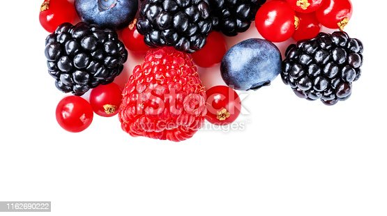670420880istockphoto Berry mix isolated on a white background. Various fresh berries. Raspberry, Blueberry, Cranberry, Blackberry and Strawberry 1162690222