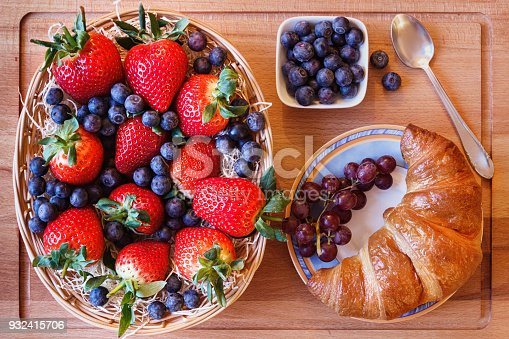 640978994 istock photo Berry mix with a croissant and a spoon 932415706