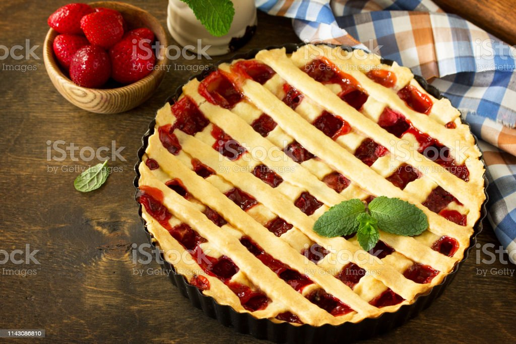 Berry pie summer. Sweet pie, tart with fresh berry strawberries on a...