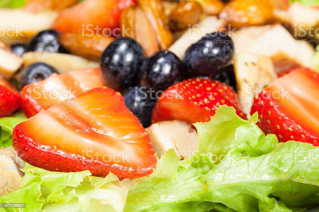 Berry salad with chicken, almond and lettuce royalty-free stock photo