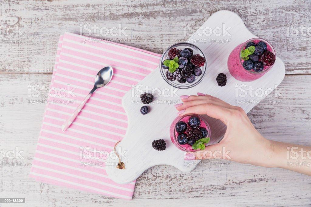 Berry smoothie, healthy detox yogurt drink, diet or vegan food...