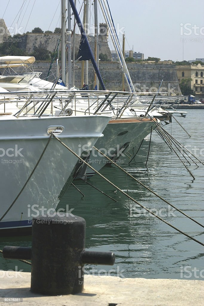 Berthed Yachts royalty-free stock photo