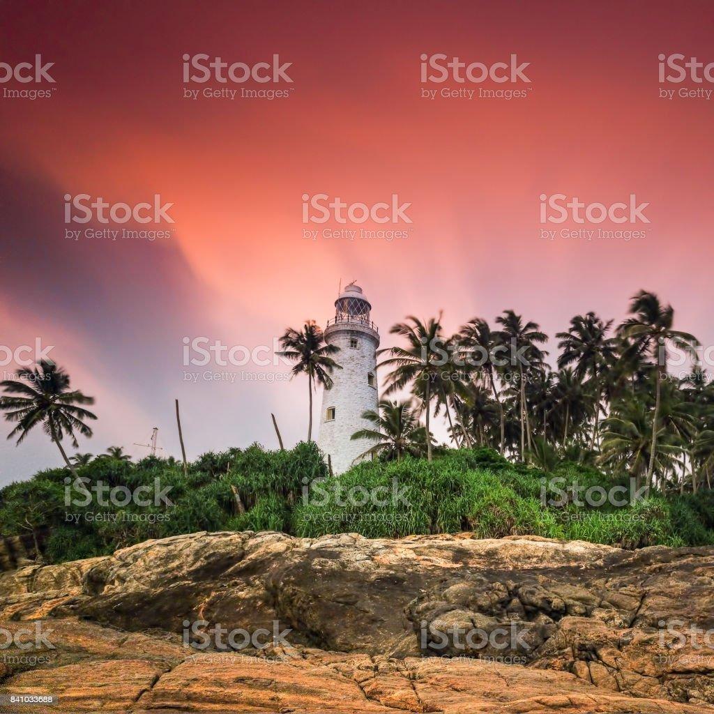 Beruwala, SRI LANKA. Island Lighthouse at sunset stock photo