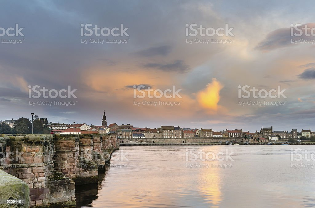 Berwick and Old Bridge stock photo