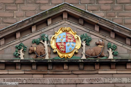 Berwick Town Hall - detail showing the coat of arms. Taken in Berwick, the most northerly English Town.