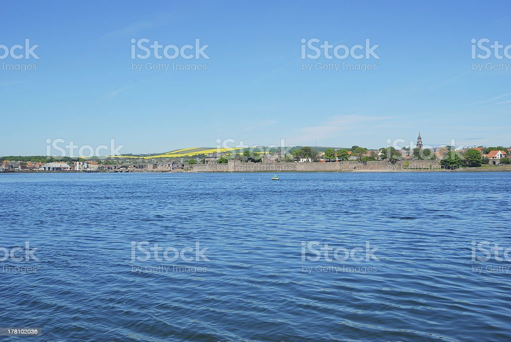 Berwick upon Tweed, river, churchtower and city walls stock photo