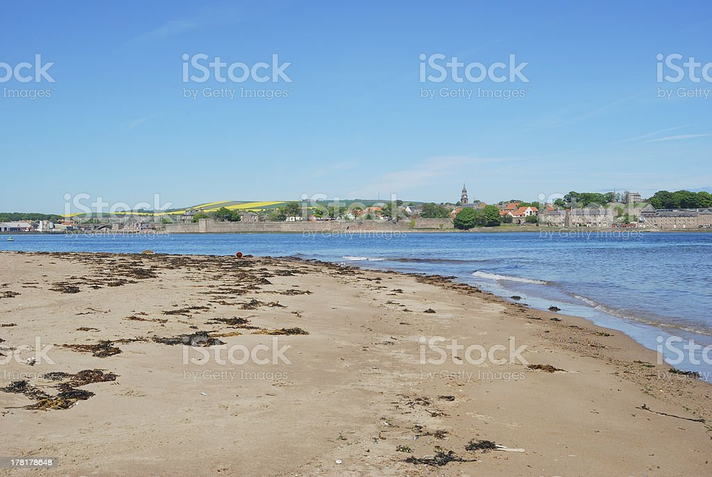Berwick upon Tweed, river estuary, sand and city walls stock photo