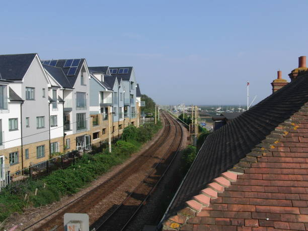 Beside The Railway TrainTrack Between Buildings alongside stock pictures, royalty-free photos & images