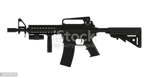 istock Beside view of black assult rifle AR15 model MK18 MOD1 isolated on white background, 3D rendering 852038730