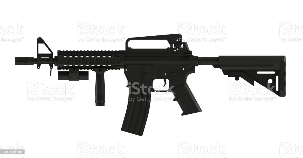 Beside view of black assult rifle AR15 model MK18 MOD1 isolated on white background, 3D rendering stock photo