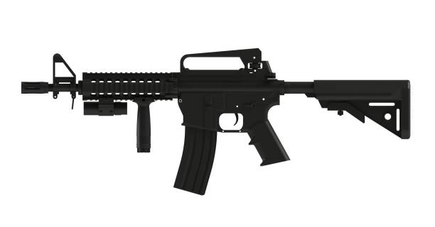 Beside view of black assult rifle AR15 model MK18 MOD1 isolated on white background, 3D rendering Beside view of black assult rifle AR15 model MK18 MOD1 isolated on white background, 3D rendering ar 15 stock pictures, royalty-free photos & images