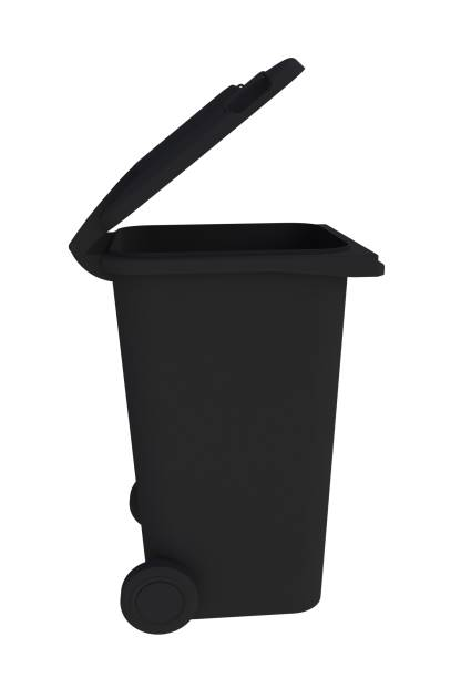 Beside view of black garbage wheelie bin with a open lid on a white background, 3D rendering stock photo