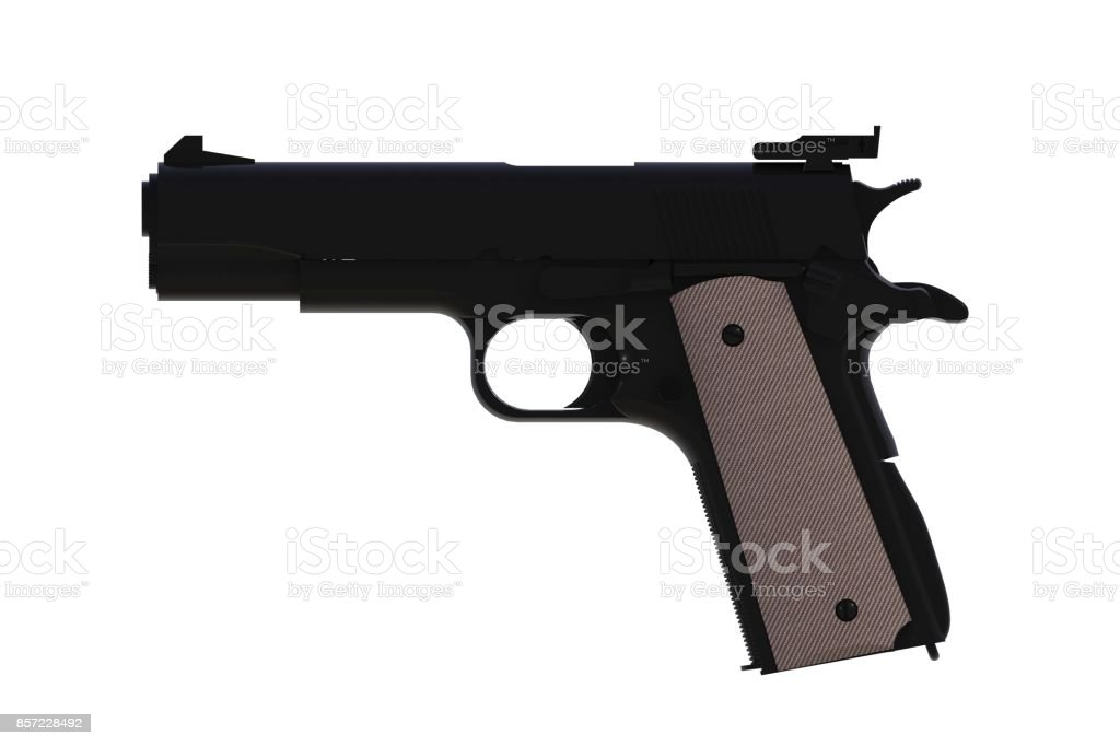 Beside view of black M1911 semi-automatic .45 caliber pistol isolated on white background, 3D rendering stock photo