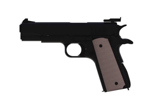 neben blick auf schwarze m1911 halbautomatische.45 kaliber pistole isoliert auf weißem hintergrund, 3d-rendering - pferdezeitschrift stock-fotos und bilder