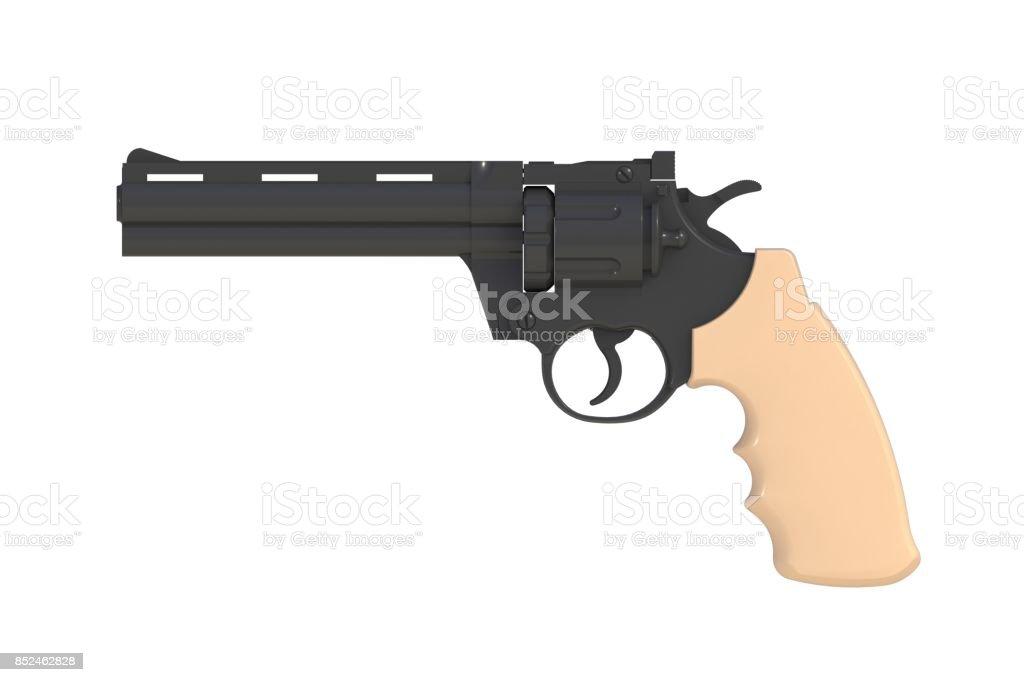 Al lado de vista de magnum negro revólver 357 aislado sobre fondo blanco, Render 3D - foto de stock