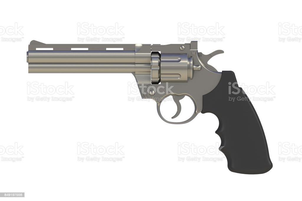 Al lado de vista de la botella doble de revolver 357 de cromo aislado en fondo blanco, Render 3D - foto de stock