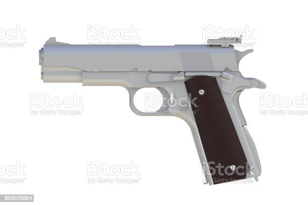 Beside view of coat zinc M1911 semi-automatic .45 caliber pistol isolated on white background, 3D rendering