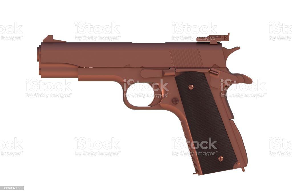 Beside view of copper M1911 semi-automatic .45 caliber pistol isolated on white background, 3D rendering stock photo