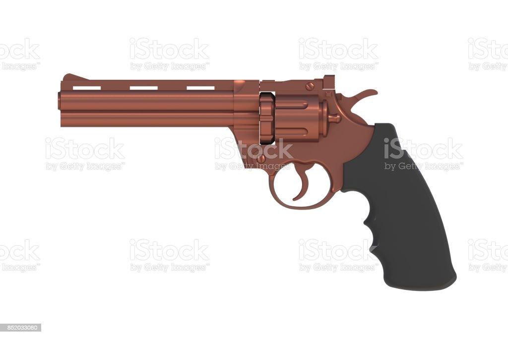 Al lado de vista de la botella doble revólver cobre 357 aislado sobre fondo blanco, Render 3D - foto de stock