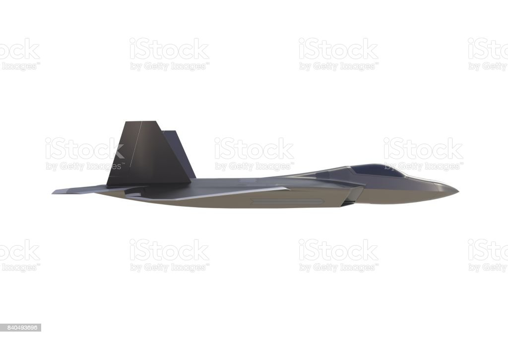 Beside View Of F22 American Military Fighter Plane On White