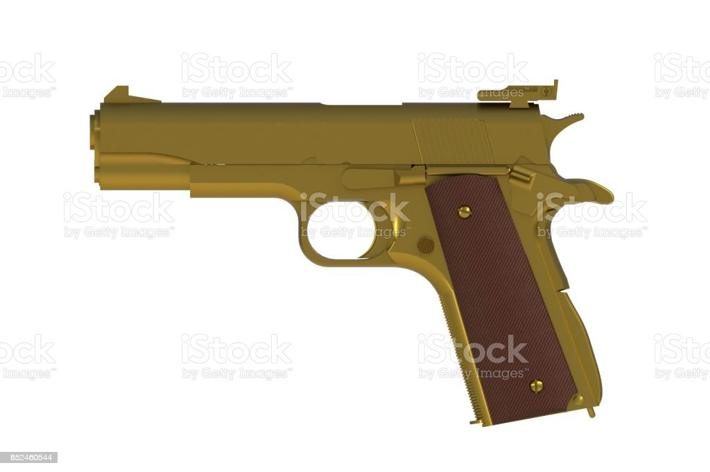 Beside view of gold M1911 semi-automatic .45 caliber pistol isolated on white background, 3D rendering stock photo
