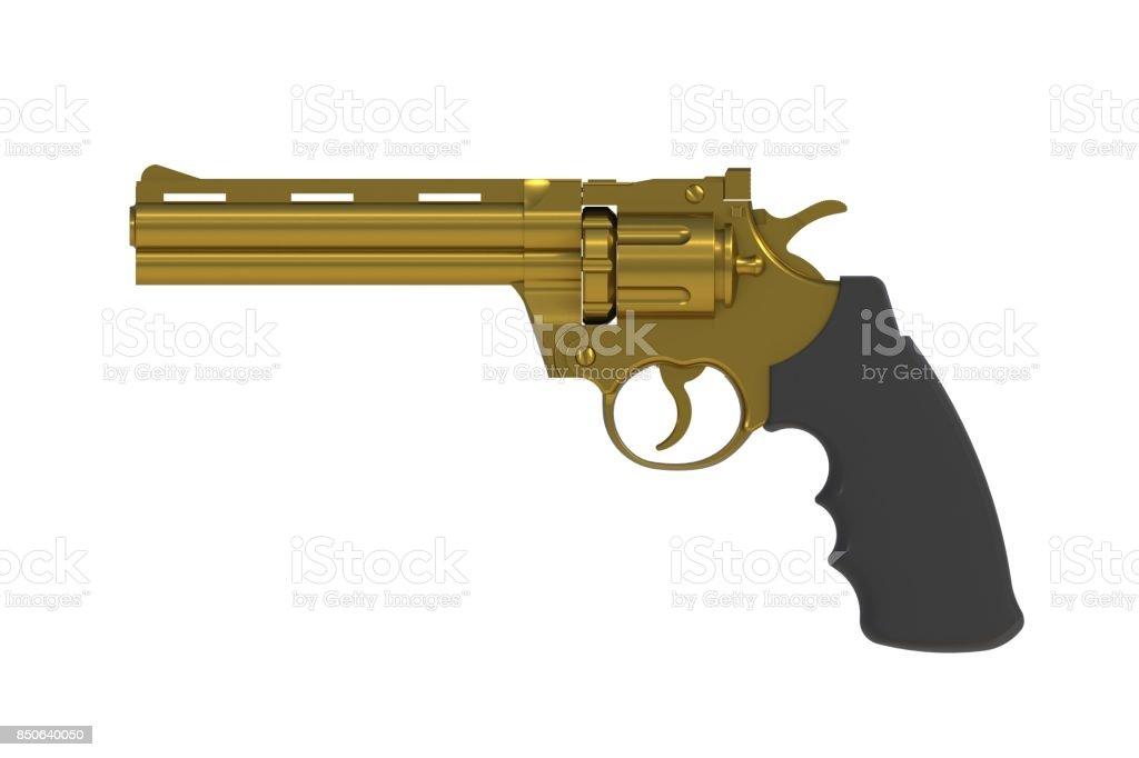 Al lado de vista de magnum gold revólver 357 aislado sobre fondo blanco, Render 3D - foto de stock